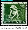INDIA-CIRCA 1965:A stamp printed in INDIA shows image woman -  tea pickers, circa 1965. - stock photo