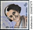 INDIA - CIRCA 1985: A stamp printed in India shows Indira Gandhi, circa 1985 - stock photo