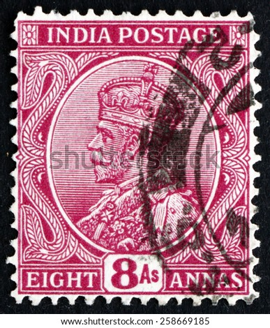INDIA - CIRCA 1911: a stamp printed in India shows King George V, Emperor of India, circa 1911 - stock photo