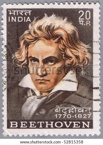INDIA - CIRCA 1970: A stamp printed in India shows Ludwig van Beethoven, circa 1970 - stock photo