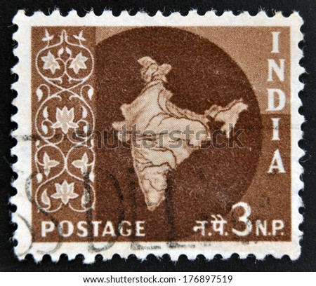INDIA - CIRCA 1957: A stamp printed in India shows Map of India, circa 1957  - stock photo