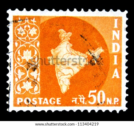 "INDIA - CIRCA 1957: A stamp printed in India shows Map of India without inscription, from the series ""Maps of India"", circa 1957 - stock photo"