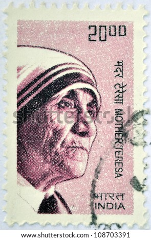INDIA - CIRCA 2008: A stamp printed in India shows Mother Teresa of Calcutta, circa 2008 - stock photo