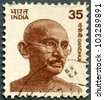 INDIA - CIRCA 1978: A stamp printed in India shows portrait of Mohandas Karamchand Gandhi, series, circa 1978 - stock photo