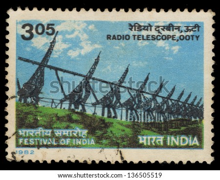 INDIA - CIRCA 1982: A stamp printed in India shows Radio Telescope, ooty, circa 1982 - stock photo