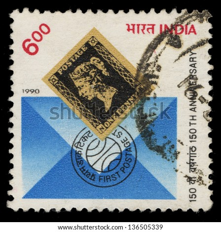 INDIA - CIRCA 1990: A stamp printed in India shows 150th Anniversary, circa 1990