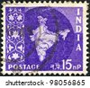 INDIA - CIRCA 1957: A stamp printed in India shows the map of India, circa 1957. - stock photo