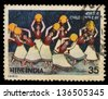 INDIA - CIRCA 1980: A stamp printed in India shows women dancing (Children�s Day), circa 1980 - stock photo