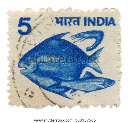India - circa 1984: Postage stamp printed in India, the stamp shows fish - stock photo
