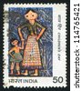INDIA - CIRCA 1983: stamp printed by India, shows child drawing, circa 1983 - stock photo