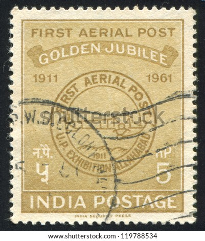 INDIA - CIRCA 1961: stamp printed by India, shows First Airmail Postmark, circa 1961