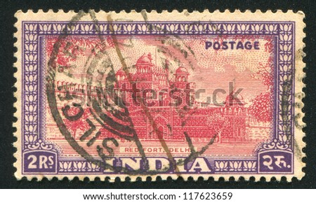 INDIA - CIRCA 1949: stamp printed by India, shows Red Fort, circa 1949