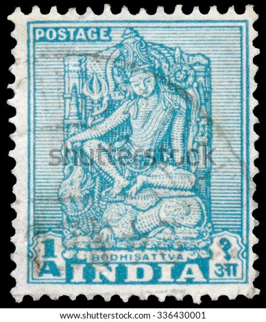 INDIA - CIRCA 1950: Stamp printed in India shows Bodhisattva, Sculpture of Bodhisattva, Enlightenment Being, circa 1950
