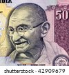 INDIA - CIRCA UNKNOWN: Gandhi on 50 rupees banknote from India. - stock photo