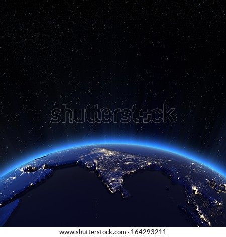 India city lights at night. Elements of this image furnished by NASA - stock photo