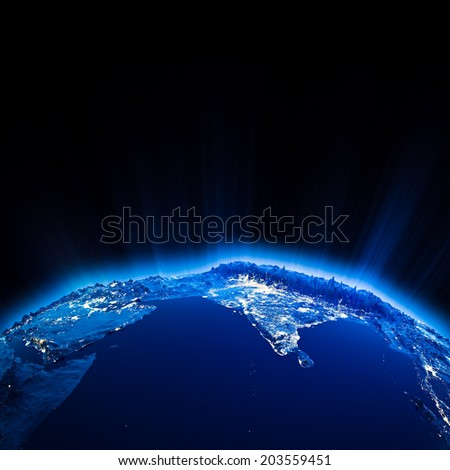 India city lights at night. Elements of this image furnished by NASA