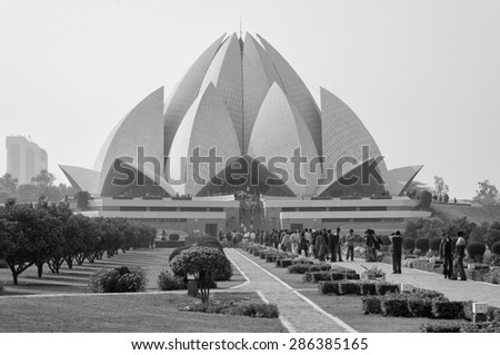 India. Delhi; 20 january 2007, people visiting the Lotus Temple (Baha'l Temple) - EDITORIAL - stock photo