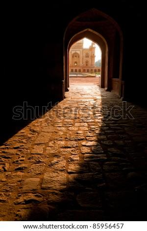India, Delhi. Safdarjung's Tomb. Central entrance at evening sunlight. Uttar Pradesh - stock photo