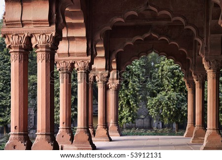 India, Delhi, the Red Fort, Diwan-I-Am, on the banks of the river Yamuna,  the fort was built by Shahjahan as the Delhi citadel of the 17th Century