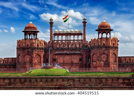 India famous travel tourist landmark and symbol - Red Fort (Lal Qila) Delhi with Indian flag - World Heritage Site. Delhi, India - stock photo