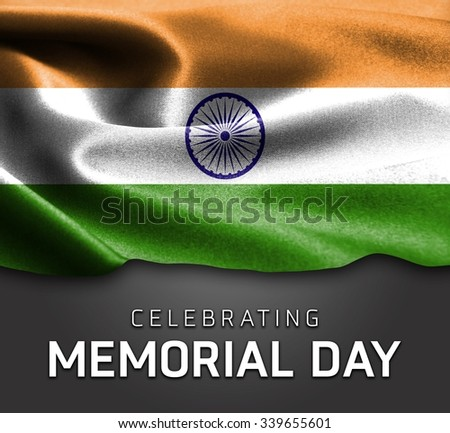 India flag and Celebrating Memorial Day Typography - stock photo