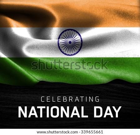 India flag and Celebrating National Day Typography on wood background - stock photo