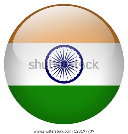 India flag button - stock photo