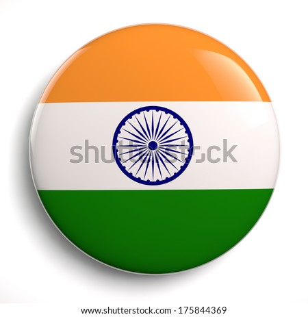 India flag icon. Clipping path included. - stock photo