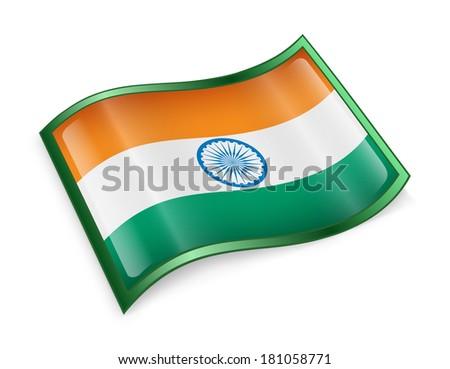 India Flag icon, isolated on white background - stock photo