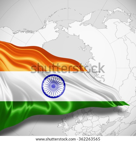 India flag of silk with copyspace for your text or images and world map background - stock photo