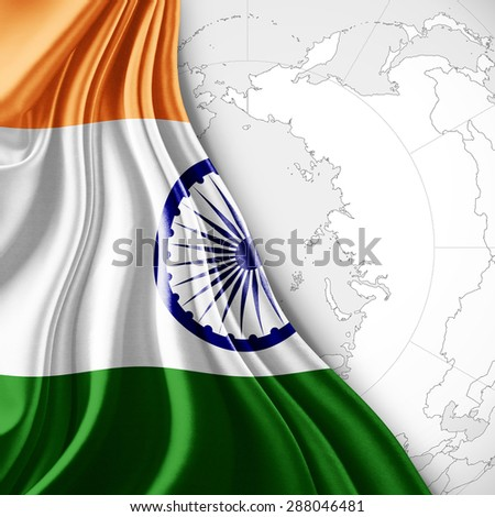 India   flag of silk with world map and white background - stock photo