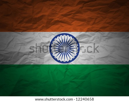 India flag on a grunge paper background