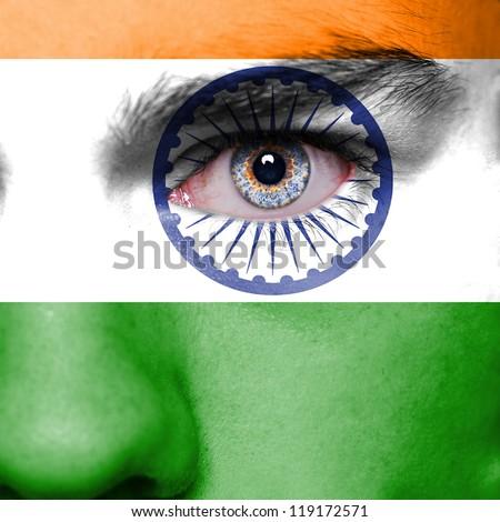 India flag on man face - stock photo