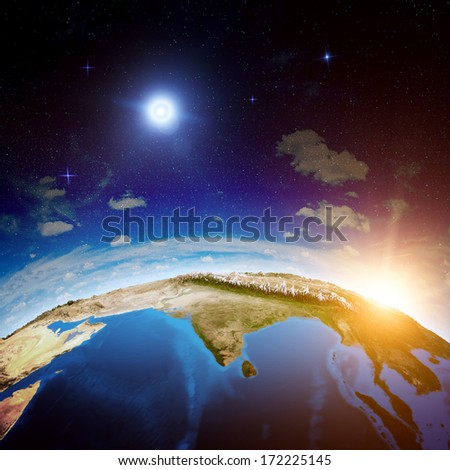 India from space. Elements of this image furnished by NASA - stock photo