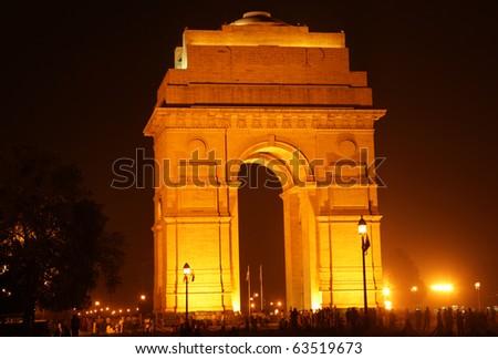 India Gate at night - stock photo