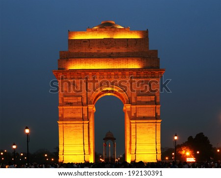 India Gate in New Delhi, India (commemoration of the 90,000 soldiers of the British Indian Army who lost their lives in British Indian Empire) - stock photo