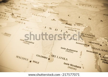 India (Geographical view altered on colors/perspective and focus on the edge. Names can be partial or incomplete) - stock photo