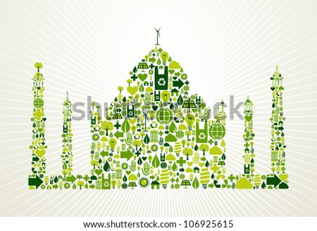 India go green. Eco friendly icon set in Taj Mahal shape illustration background. - stock photo