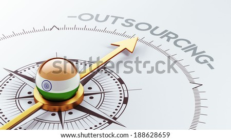 India High Resolution Outsourcing Concept - stock photo