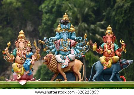 india hindu ganesh ganesha god sculpture at batu caves old popular travel place hinduism