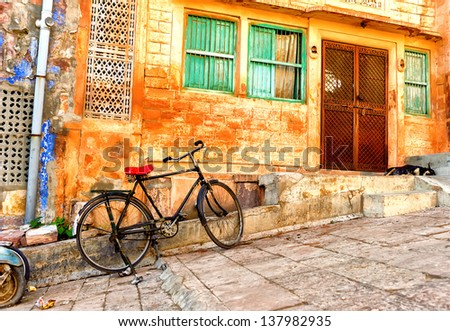 India. Indian street in Rajasthan  - stock photo