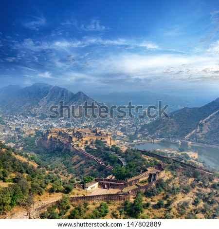 India Jaipur Amber fort in Rajasthan. Ancient indian palace architecture, panoramic view  - stock photo