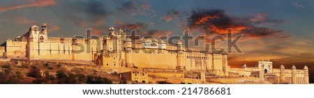 India landmark - Jaipur, Amber fort panorama - stock photo