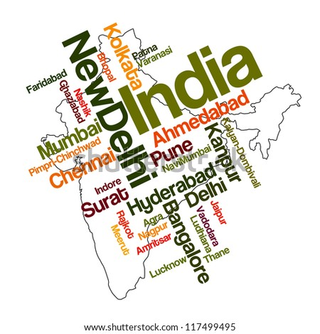 India map and words cloud with larger cities; eps vector version also available - stock photo