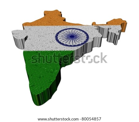 India map flag mosaic on white illustration