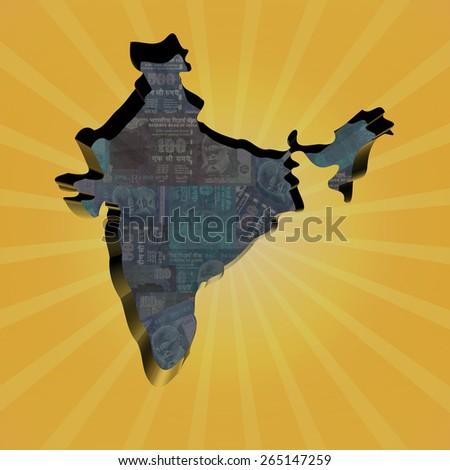 India map on Rupees sunburst illustration - stock photo