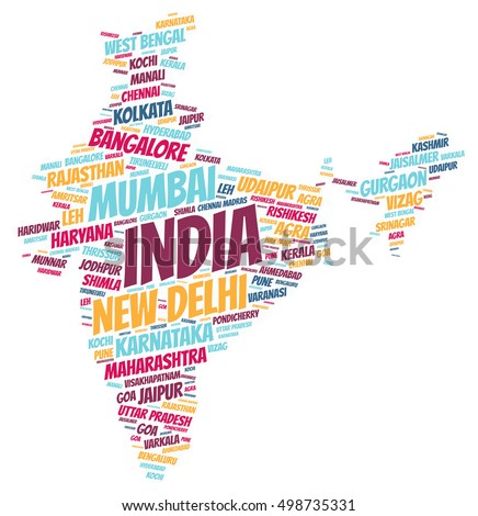 India map silhouette word cloud with most popular travel destinations