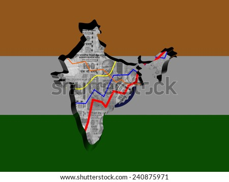 India map with flag and graphs on Rupees illustration - stock photo