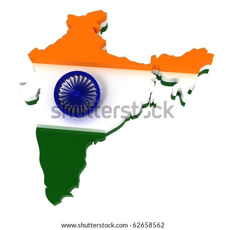India, map with flag, clipping path, isolated on white, 3d illustration - stock photo