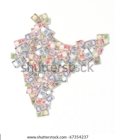 india map with rupee banknotes 3d illustration - stock photo